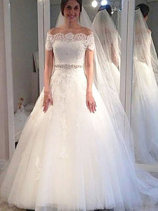Off-Shoulder Short Sleeves Ball Gown Tulle Wedding Dresses OW232