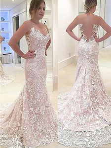 Trumpet/Mermaid Sweetheart Neck Lace Wedding Dresses OW233