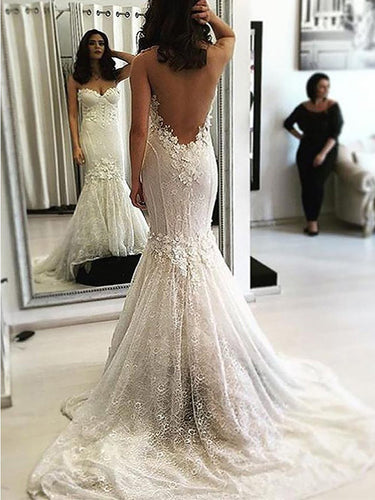Cheap Trumpet/Mermaid Sweetheart Open Back Lace Wedding Dresses OW235