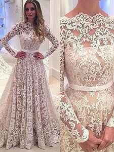 Cheap Long Sleeves A-Line/Princess Bateau Lace Wedding Dresses OW236