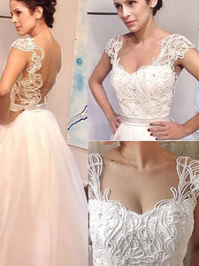 A-Line Beaded Sweetheart Tulle Princess Wedding Dresses OW243