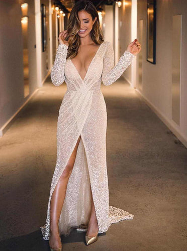 Sexy Plunging V-neck Mermaid Long Sleeves Prom Evening Dresses With Slit PO082