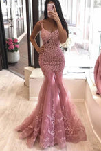 Mermaid Lace Long Prom Dresses, Dusty Pink Tulle Evening Dress PO429
