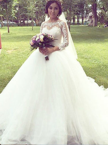 Charming Long Sleeves Bateau Ball Gown Tulle Wedding Dresses OW237