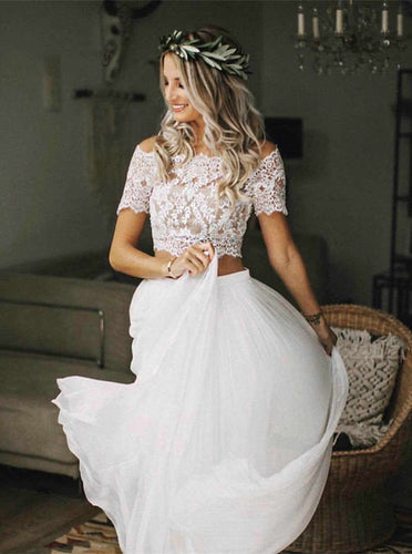 Two Pieces Boho Wedding Dress With Short Sleeves, Chiffon Beach Wedding Dresses OW657