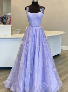 Lilac Tulle Long A line Prom Gown Handmade Flower Evening Dress PO366