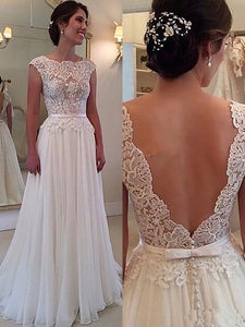A-Line Scoop Sleeveless Applique Floor-Length Princess Chiffon Backless Wedding Dresses OW117