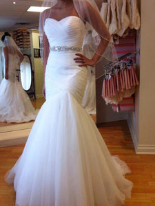Sweetheart Trumpet/Mermaid Beading Lace Up Tulle Wedding Dresses OW240