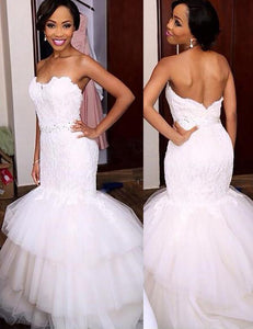 Mermaid Lace Sweetheart Sleeveless Trumpet Tulle Ruffles Wedding Dresses OW241