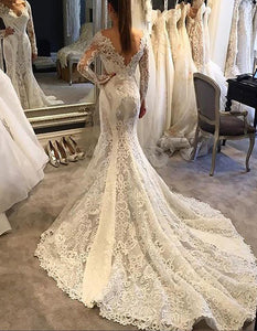 Long Sleeves Trumpet/Mermaid V-neck V-back Lace Wedding Dresses OW238