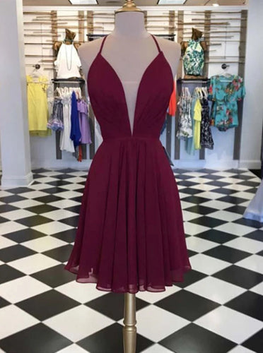 Chiffon Burgundy Short Prom Dress, Lace-up Graduation Homecoming Dress OM439