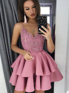 A-line V-Neck Layered Short Prom Dress Appliques Homecoming Dress OM441