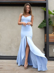 Light Blue Mermaid Backless Prom Dresses, Simple Bridesmaid Dress PO346