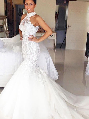 Halter Trumpet/Mermaid Tulle Sleeveless Wedding Dresses For Sale, OW247