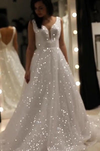 Sparkly V-neck Backless Wedding Gown, Sequins Prom Dress On Sale UK, OW314