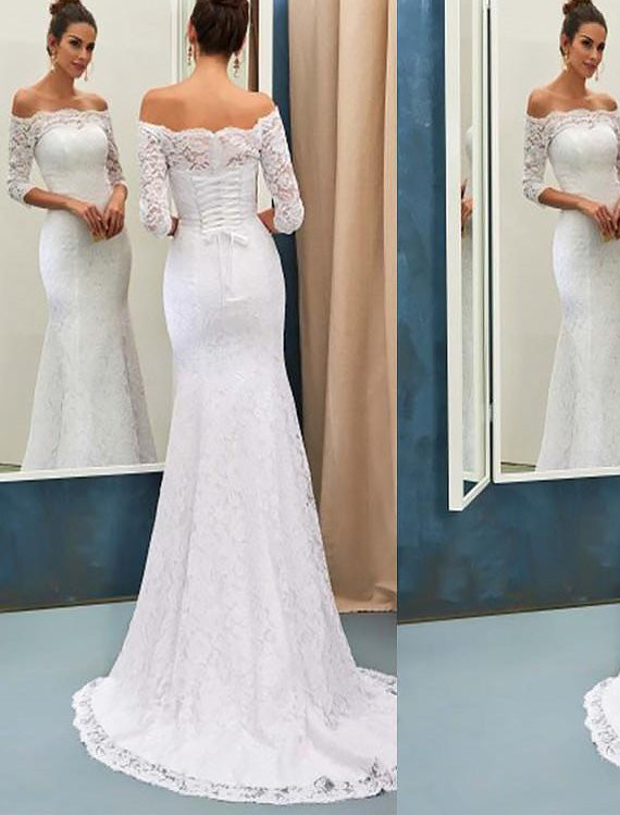 Off-Shoulder Sheath/Column Lace Wedding Dresses With Long Sleeves OW248
