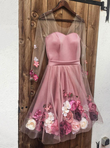 Charming V neck 3D Applique Short Prom Dresses, Pink Long Sleeves Homecoming Dress OM320