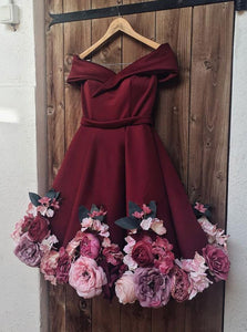 Off Shoulder 3D Appliques Burgundy Homecoming Dresses Short Prom Dresses OM321