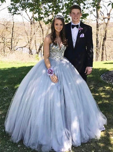 Sweetheart Neck Grey Sweet 16 Dress Tulle Ball Gown Prom Dress PO129