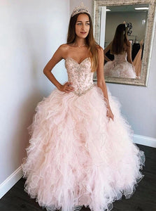 Sweetheart Ball Gown Beads Sweet 16 Dress Long Prom Dresses PO127