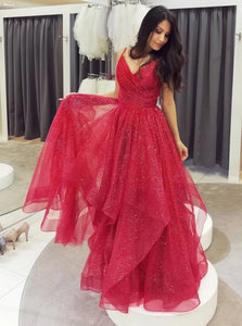 Sparkly Red V-neck Tulle Long Prom Dresses, Formal Evening Dress PO123