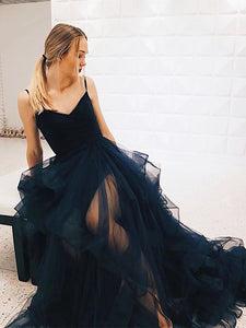 V Neck Dark Navy Blue Long Prom Dresses, Tulle Formal Evening Dresses PO403