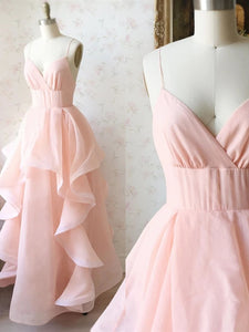 Princess V Neck Long Prom Dresses, Pearl Pink Sweet 16 Graduation Dresses PO411