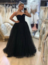 A-line Beading Sweetheart Tulle Black Long Prom Formal Dresses PO132