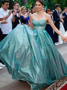Sparkly Sweetheart Blue Long Prom Dress, A-line Formal Evening Dress PO133