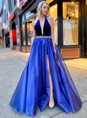 A-line V-Neck Long Prom Dresses, Formal Evening Dresses With Split PO407
