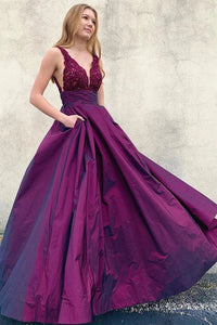 V Neck Purple Long A-line Prom Dresses, Satin Lace Top Formal Evening Dresses PO406
