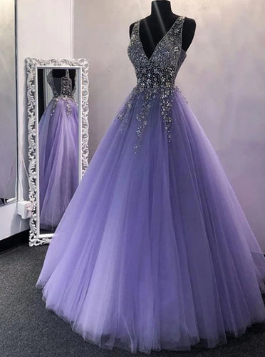 A Line V Neck Beaded Long Prom Dresses, Backless Formal Evening Dresses PO393