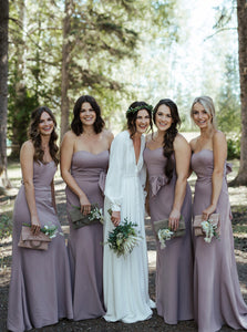 Sweetheart Lilac Mermaid Bridesmaid Dresses with Bowknot OB324