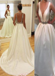 A-Line/Princess V-neck Open Back Satin Ball Gown Wedding Dresses OW251