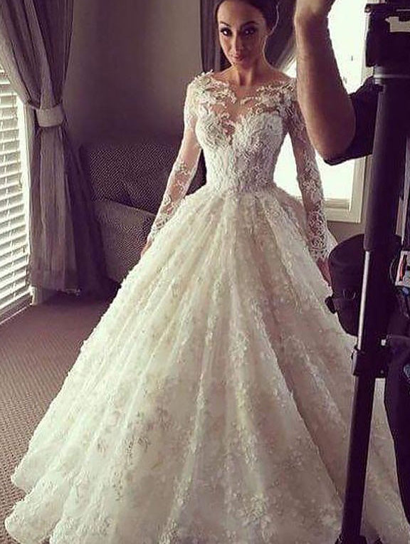 Long Sleeves Scoop Court Train Lace Ball Gown Wedding Dresses OW250