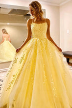 Daffodil Straps A-Line Tulle Long Prom Dresses With Appliques PO042