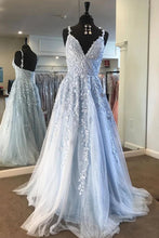 Sky Blue Long Prom Dresses A-line V-neck Lace Appliques Pageant Dress OP908
