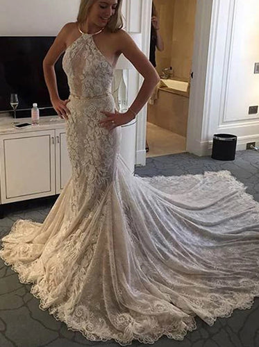 Halter Mermaid Lace Sleeveless Wedding Dress with Appliques OW641