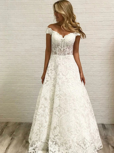 Off Shoulder Sleeveless Lace Wedding Dresses, A-line Lace Bridal Gown OW633