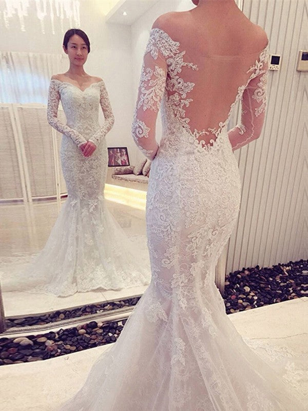 Charming Mermaid Long Sleeves Off-Shoulder Lace Trumpet Applique Wedding Dresses OW116