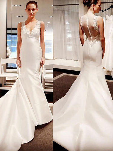 Trumpet/Mermaid V-neck Illusion Back Satin Wedding Dresses OW245