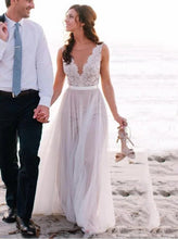 A-Line Sheer Round Neck Illusion Back Tulle Beach Wedding Dress, OW319