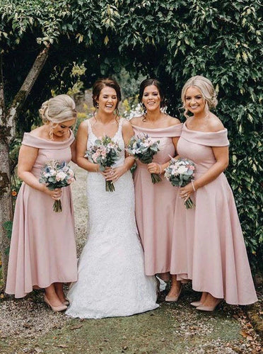 Off Shoulder Ankle Length High Low Pink Bridesmaid Dresses OB312