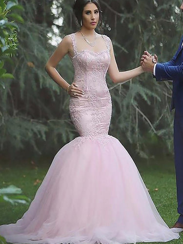 Cheap Pink Mermaid Straps Sleeveless Tulle Wedding Dresses OW244