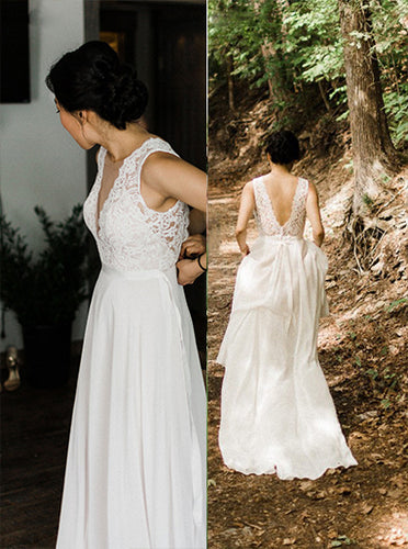 A-line Sheer Round Neckline Lace Chiffon Beach Wedding Dress OW581