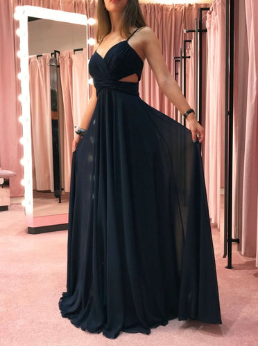 Dark Blue Chiffon Long Prom Dress, Cut Out Simple Evening Dress OP899