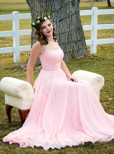 A-line Scoop Pink Long Prom Dresses, Chiffon Pink Evening Dress PO428