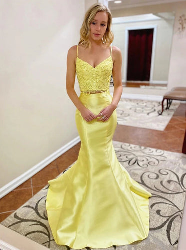 Mermaid Yellow 2 Pieces Prom Dresses, Two Pieces Fomral Evening Dresses PO405