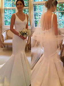 Trumpet/Mermaid V-neck Satin Sleeveless Open Back Wedding Dresses OW252