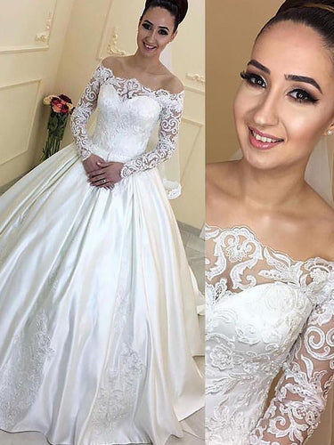 Off-Shoulder Long Sleeves Satin Ball Gown Court Train Wedding Dresses OW254